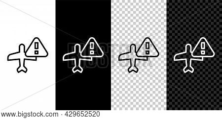 Set Line Warning Aircraft Icon Isolated On Black And White, Transparent Background. Faulty Plane. Fl