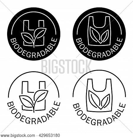 Biodegradable. Icon Of Plastic Bag With Green Leaves. Plastic Free Stamp. Eco Friendly Compostable M
