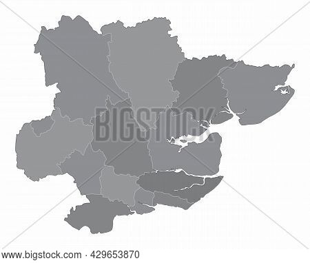 The Essex County Grayscale Map Isolated On White Background, England