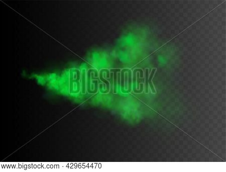 Realistic Colored Green Cloud Of Toxic Poisonous Smoke Or Steam On Black Transparent Background Vect