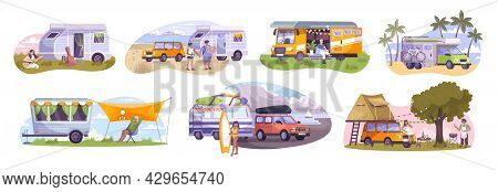 Trailer Park With Motor Homes And Trailers On Beach River Bank In Forest Mountains And Relaxing Huma