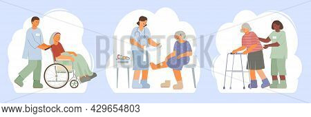 Elderly Care Flat Composition Set With Medical Staff Helping Senior Women On Wheelchair With Walker