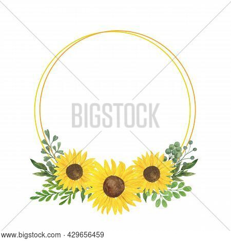 Sunflower And Leaves Round Frame, Floral Composition Watercolor Illustration, Agricultural Plant Sum