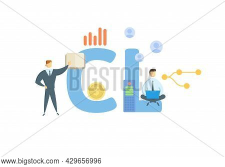 Cl, Current Liabilities. Concept With Keyword, People And Icons. Flat Vector Illustration. Isolated