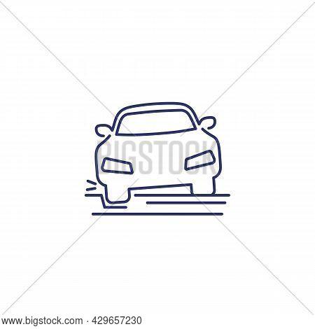 Pothole Line Icon With A Car, Vector