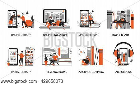 Online Library Composition Set With Online Library Online Education Reading Book Library Language Le