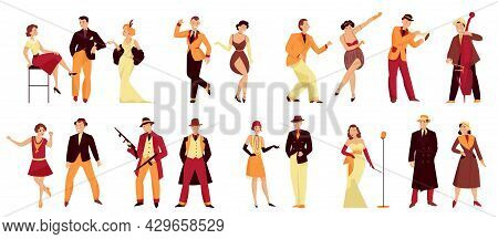 Retro Twenties Color Set With Isolated Human Characters Of Gangsters Dancers And Musicians In Dandy