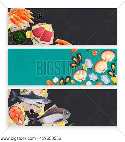 Seafood Fresh And Frozen Products 3 Horizontal Green Black Background Banners Herring Salmon Mussels