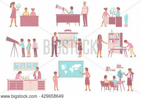 School Nature Astronomy Natural History Set Of Flat Isolated Compositions With Classroom Elements An