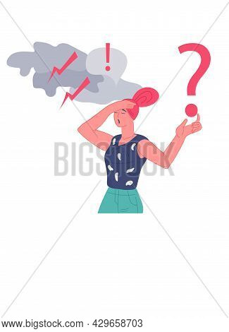 Upset Confused Woman Having Unresolved Problem, Flat Vector Isolated On White Background. Anxiety Or