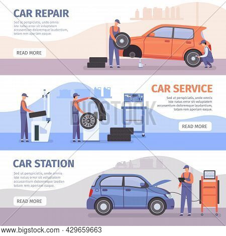 Auto Repair Service Banner. Car Workshop Posters With Workers Fix Cars And Wheel Tires. Vehicle Mech