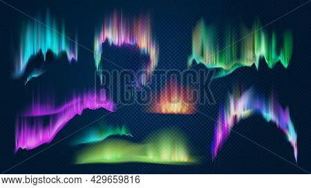 Realistic Aurora Borealis Northern Lights In Night Sky. Polar Glowing Natural Effect. Shining Antarc