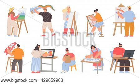 Art Painters, Digital Artists And Graphic Designer Characters. Men And Women Draw Painting On Canvas