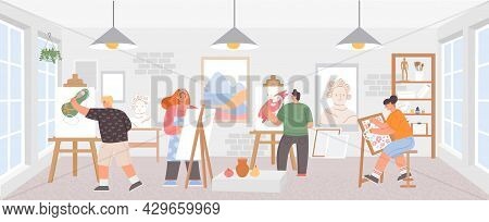 Workshop Classroom With Artists Painting Art Work On Easels. Painters Man And Woman. Creative Draw C