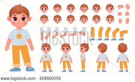 Cartoon Boy Character Constructor With Body Parts And Face Emotions. Child Expressions, Leg Poses An