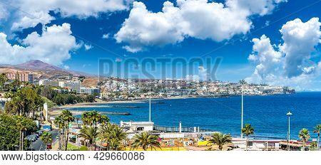 Landscape With Maspalomas Village And Playa Del Ingles In Gran Canaria, Spain