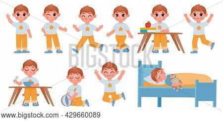 Cartoon Kid Boy Character Poses, Gestures And Expressions For Animation. Happy School Child Playing,