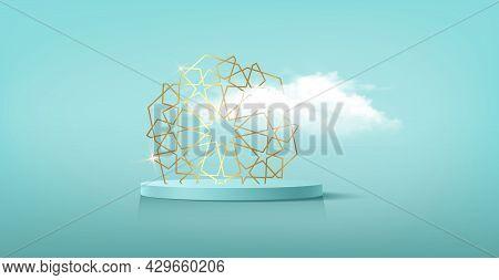 Luxury Islamic Podium With Gold Traditional Islamic Symbol With Fluffy Cloud. 3d Horizontal Arabic B