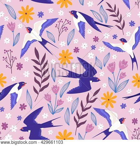 Vintage Seamless Pattern With Flying Swallows, Flowers And Plants. Rural Meadow Print With Birds And