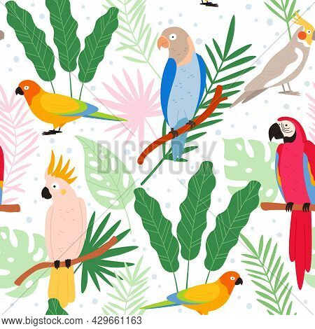 Colorful Cartoon Exotic Parrots And Tropical Leaves Seamless Pattern. Cockatoo, Macaw, Colombia Para