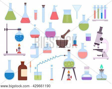 Flat Chemistry Laboratory Glassware Equipment For Science Experiment. Medical Lab Beaker, Test Tube,
