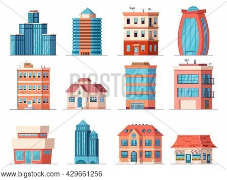 Cartoon Office City Buildings, Skyscraper And Downtown Apartment House. Real Estate, Business Tower,