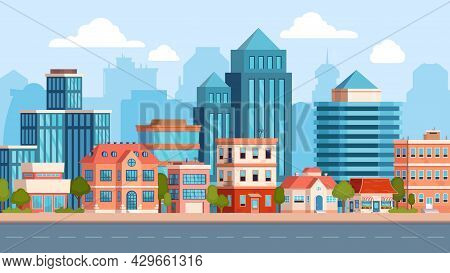 Flat City Street Landscape With Skyscraper And Apartment Building. Town Real Estate, Houses And Road