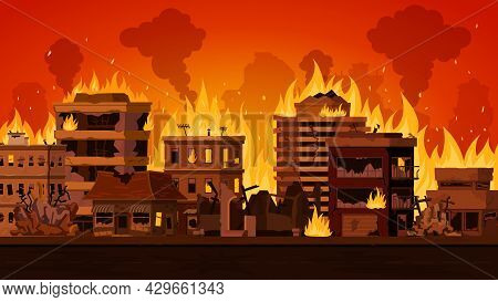 Cartoon Apocalyptic City Landscape With Destroyed Building On Fire. Cityscape With Burn Street House