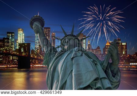 Fireworks Over Manhattan Ny City At Night With Statue Of Liberty In Manhattan New York City Usa Cele