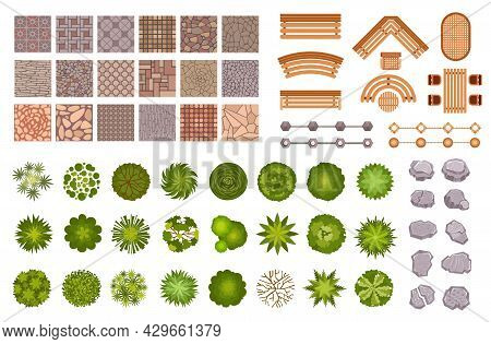 City Park Landscape Design Map Elements Top View. Garden Trees And Plant, Benches, Road Path Tile An