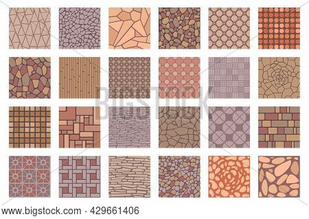 Street Road Pavements Tile Patterns Top View. Floor Tiles With Rock, Brick And Cobble Stone Texture.