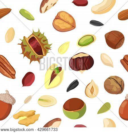 Cartoon Dry Nut And Seed Mix Seamless Pattern. Print With Peanut, Walnut, Hazelnut, Pecan And Pistac