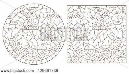 Set Of Contour Illustrations Of Stained Glass Windows With The Moon And Sky, Round And Rectangular I