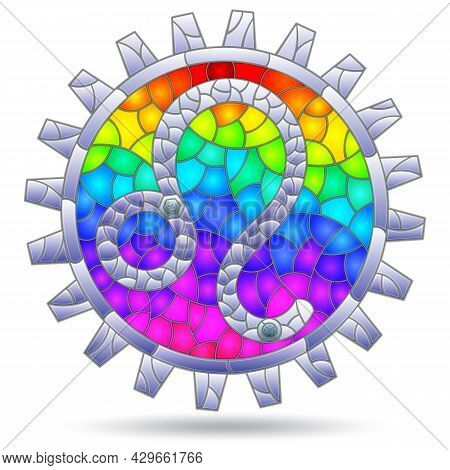 Illustration In The Style Of A Stained Glass Window With The Zodiac Sign Leo, The Sign Is Isolated O
