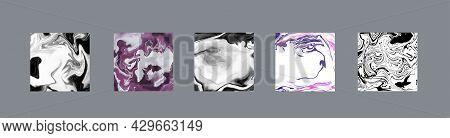 Elegant Creative Card Templates Set. Marble Texture Vector. Invitation Card Template Design. Vintage