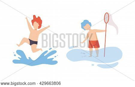 Boy Having Vacation At Sea Splashing In Water And Catching Fish With Net Vector Set