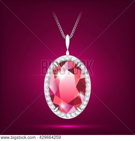Ruby Red Pendant Vector Realistic Style Eps10