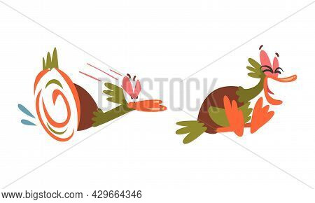 Angry And Laughing Dabbling Duck Character As Feathered Waterfowl Bird Vector Set