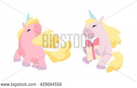 Cute Unicorn Character With Pointed Spiraling Horn And Golden Mane Holding Gift Box And Standing Vec
