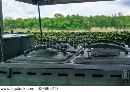 Russian Soviet Field Kitchen Of Second World War. Military Equipment Of Red Army. Mobile Kitchen Or