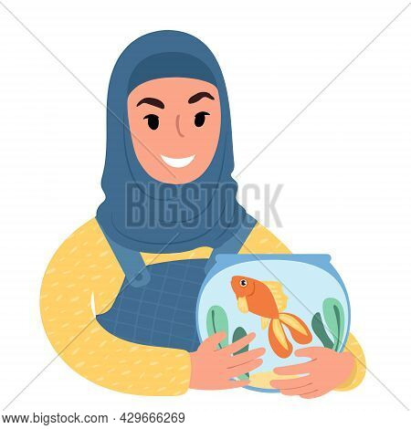 Girl In A Headscarf With A Pet Goldfish. Flat Style Illustration
