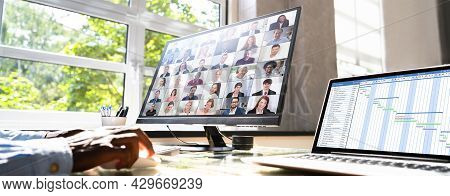 Virtual Conference Agenda On Office Computer. Video Conferencing