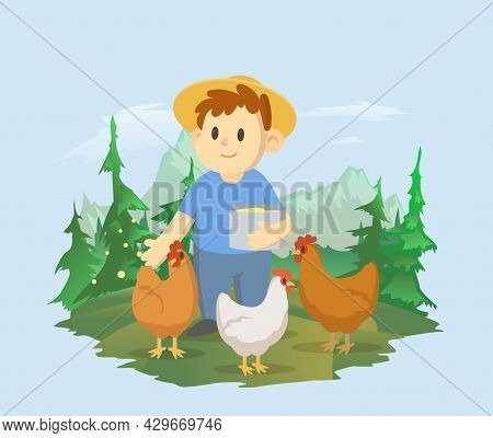 A Boy Feeds The Chickens On The Background Of A Mountain Landscape. A Farmer Working In The Field. V