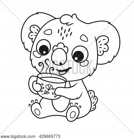 Cute Koala Drinking Hot Drink Coloring Page. Black And White Outline Cartoon Illustration
