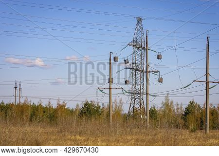 High-voltage Power Transmission Line For Electricity Transmission From Power Station