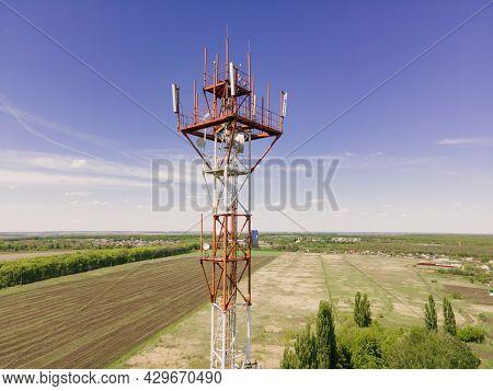 Telecommunication Tower Of 4g And 5g Cellular. Base Station Or Base Transceiver Station Telecom.