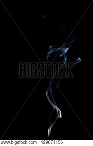 Steam Vapor. Blur Abstract Fog, White Smoke Or Steam Mist Cloud Isolated On Black Background. Realis
