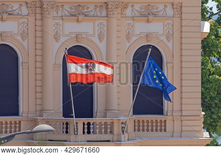 Flag Of Austria And Eu At Austrian Embassy In Belgrade