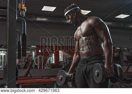African American Athletic Man Bodybuilder Training Biceps Muscles With Dumbbells In Gym. Strength Wo
