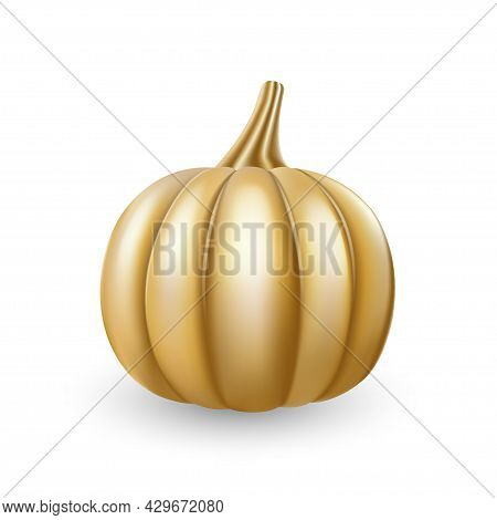 Golg Pumpkin. Festive Golden Color Thanksgiving Day Design Element. Glossy Modern Halloween Symbol A